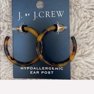 J crew tortoise hoop earrings